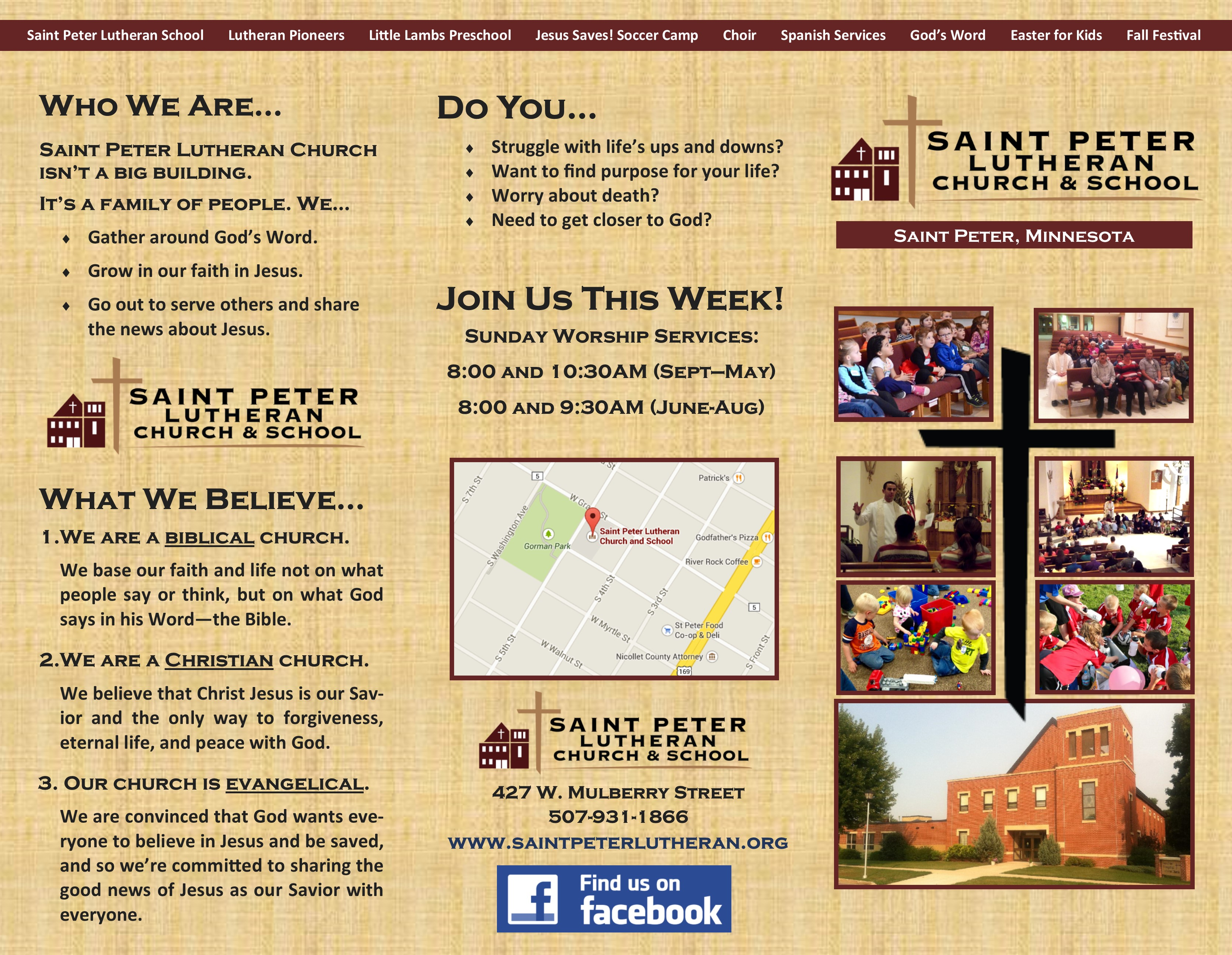 our church flyer st peter lutheran church flyer 2015 outside