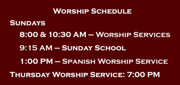 Weekly Worship Schedule